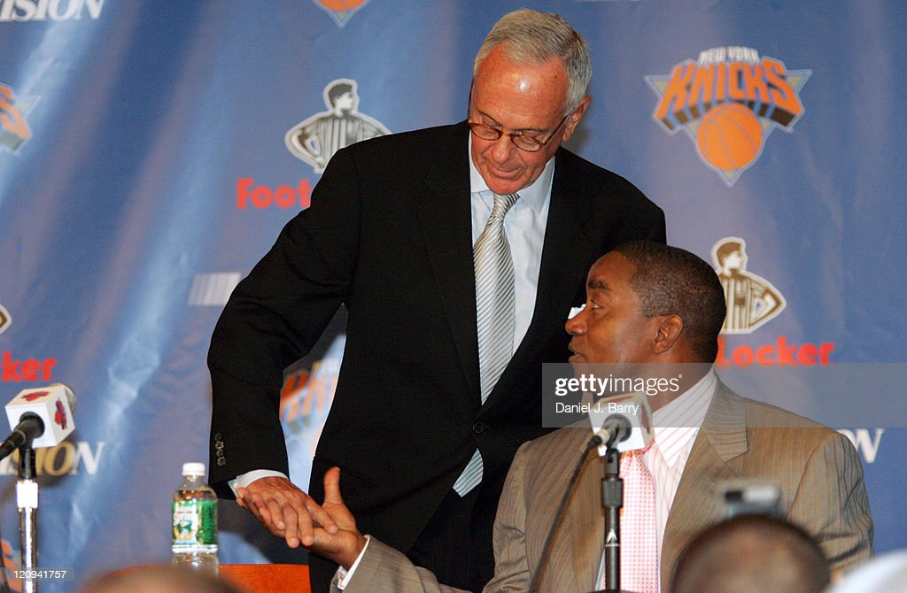 New York Knicks new head coach Larry Brown,left, and team team president Isiah Thomas,right, speak to members of the media Thursday July 28, 2005 in Madison Square Garden.