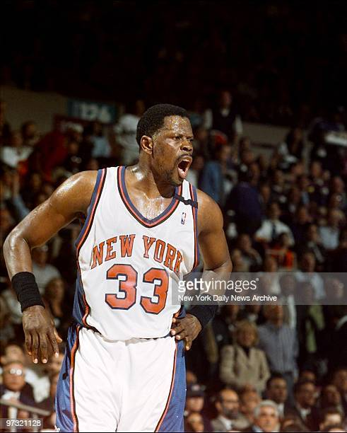 New York Knicks' Patrick Ewing objects to a foul call in game against the Miami Heat at Madison Square Garden