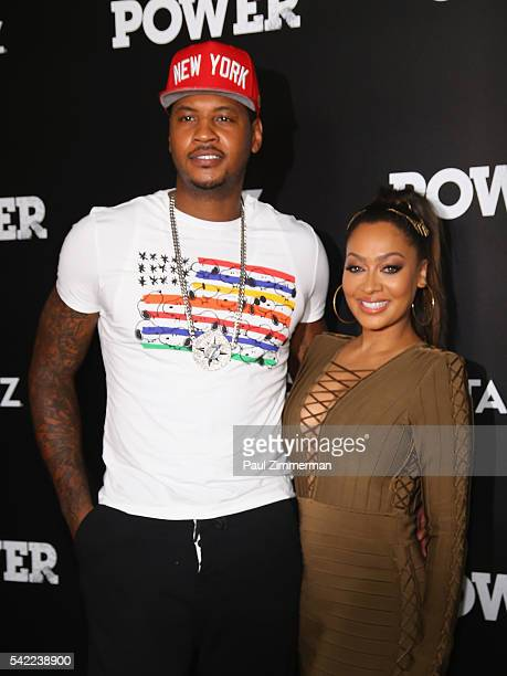 New York Knicks player Carmelo Anthony and TV personality La La Anthony attend the season three premiere of 'Power' on June 22 2016 in New York City