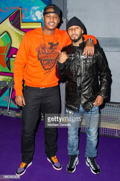 New York Knicks player Carmelo Anthony and musician Swizz Beatz attend Flipeez Presents Kasseem's Dream Halloween Party at BKLYN BEAST on October 29...
