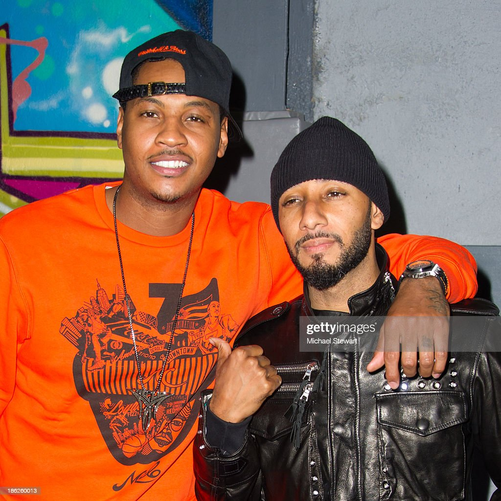 New York Knicks player Carmelo Anthony (L) and musician Swizz Beatz attend Flipeez Presents Kasseem's Dream Halloween Party at BKLYN BEAST on October 29, 2013 in Brooklyn, New York.
