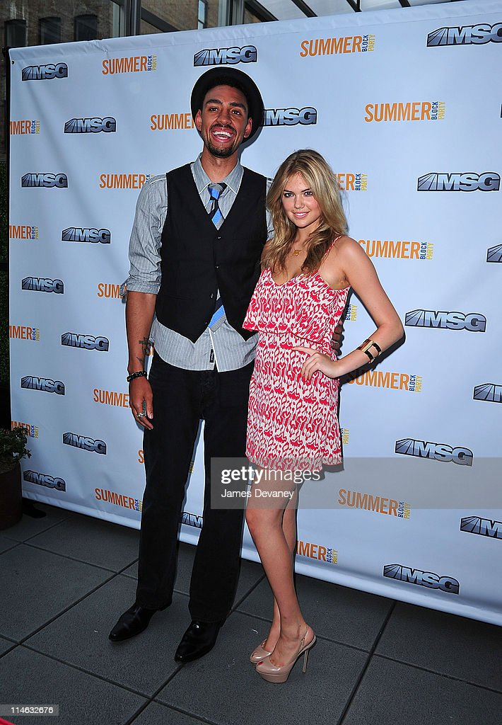 New York Knicks player Jared Jeffries and Kate Upton attend the 2011 MSG Summer Block Party at Bar Basque on May 24, 2011 in New York City.