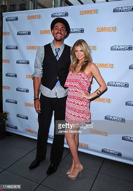 New York Knicks player Jared Jeffries and Kate Upton attend the 2011 MSG Summer Block Party at Bar Basque on May 24 2011 in New York City