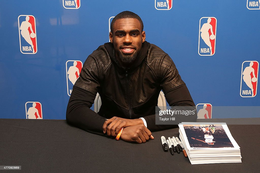 New York Knicks player <a gi-track='captionPersonalityLinkClicked' href=/galleries/search?phrase=Tim+Hardaway+Jr.&family=editorial&specificpeople=7481128 ng-click='$event.stopPropagation()'>Tim Hardaway Jr.</a> attends Forever 21 X NBA Collection launch event at Forever 21 Times Square Flagship Store on March 6, 2014 in New York City.