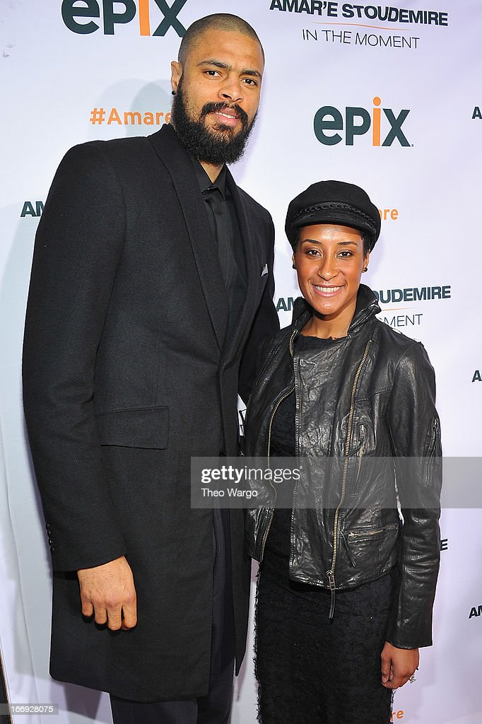 New York Knicks player Tyson Chandler and Kimberly Chandler attend EPIX premiere of Amar'e Stoudemire IN THE MOMENT on April 18, 2013 in New York City.