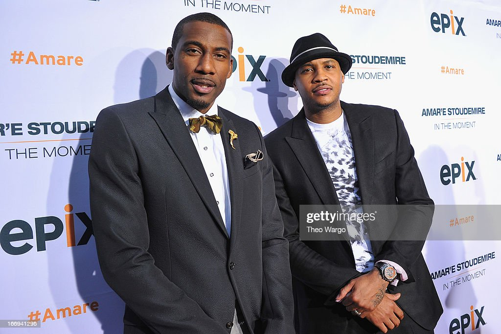 New York Knicks players Amar'e Stoudemire and Carmelo Anthony attend EPIX premiere of Amar'e Stoudemire IN THE MOMENT on April 18, 2013 in New York City.