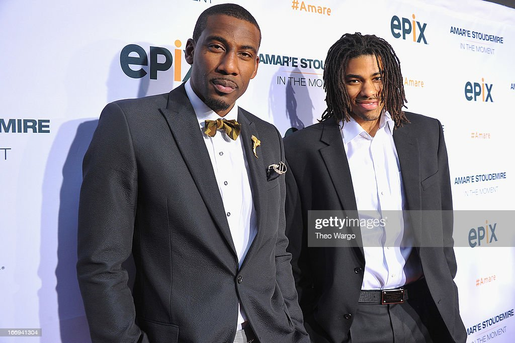 New York Knicks players Amar'e Stoudemire and Chris Copeland attend EPIX premiere of Amar'e Stoudemire IN THE MOMENT on April 18, 2013 in New York City.