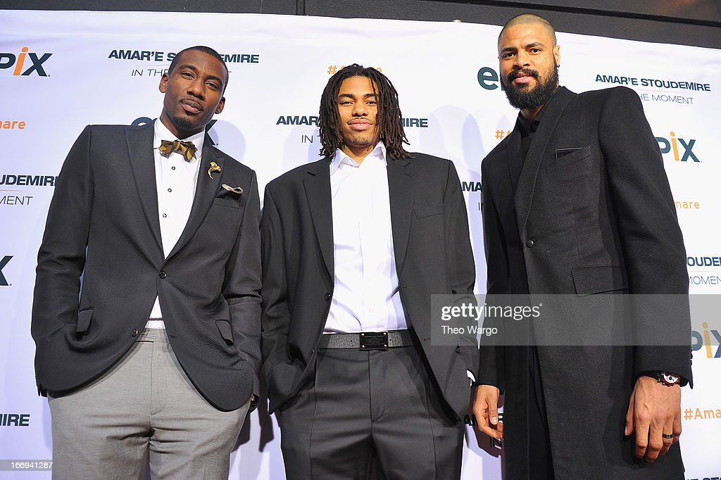 New York Knicks players Amar'e Stoudemire, Chris Copeland and Tyson Chandle attend EPIX premiere of Amar'e Stoudemire IN THE MOMENT on April 18, 2013 in New York City.
