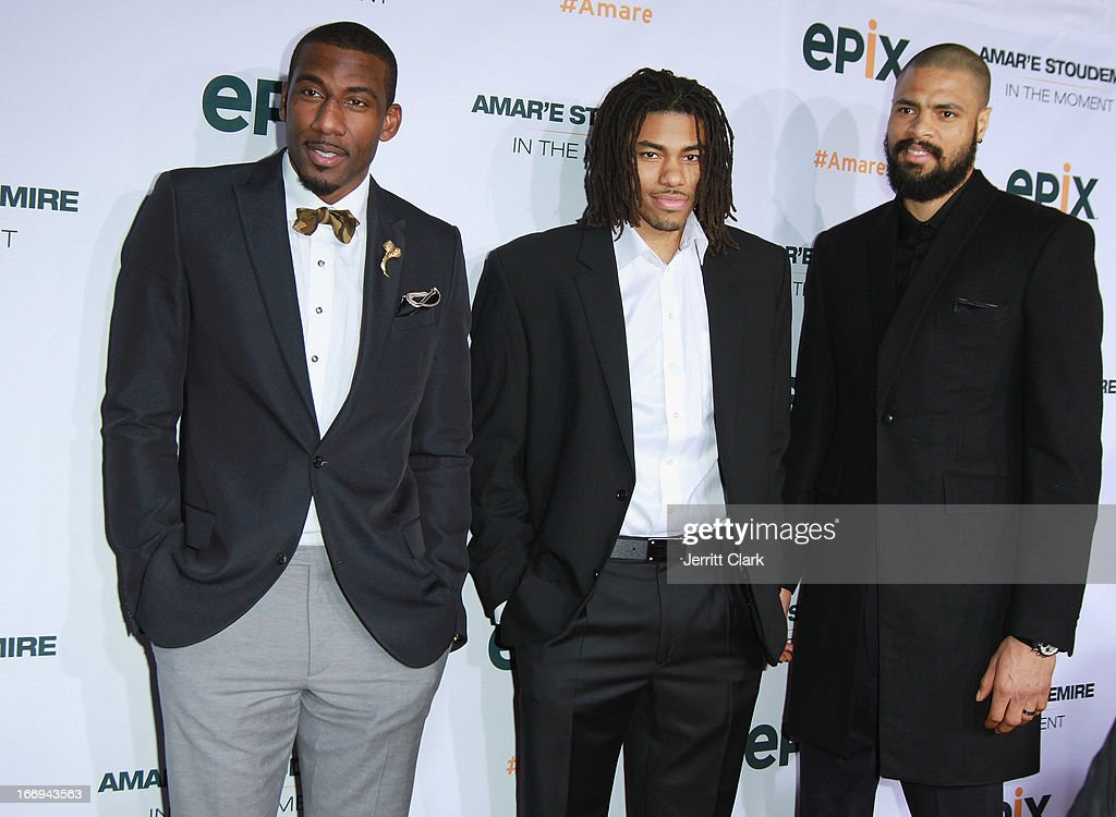 New York Knicks players <a gi-track='captionPersonalityLinkClicked' href=/galleries/search?phrase=Amar%27e+Stoudemire&family=editorial&specificpeople=201492 ng-click='$event.stopPropagation()'>Amar'e Stoudemire</a>, <a gi-track='captionPersonalityLinkClicked' href=/galleries/search?phrase=Chris+Copeland&family=editorial&specificpeople=833969 ng-click='$event.stopPropagation()'>Chris Copeland</a> and <a gi-track='captionPersonalityLinkClicked' href=/galleries/search?phrase=Tyson+Chandler&family=editorial&specificpeople=202061 ng-click='$event.stopPropagation()'>Tyson Chandler</a> attend the '<a gi-track='captionPersonalityLinkClicked' href=/galleries/search?phrase=Amar%27e+Stoudemire&family=editorial&specificpeople=201492 ng-click='$event.stopPropagation()'>Amar'e Stoudemire</a>: In The Moment' New York Premiere at Marquee on April 18, 2013 in New York City.