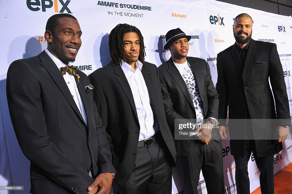 New York Knicks players Amar'e Stoudemire, Chris Copeland, Carmelo Anthony and Tyson Chandler attend EPIX premiere of Amar'e Stoudemire IN THE MOMENT on April 18, 2013 in New York City.
