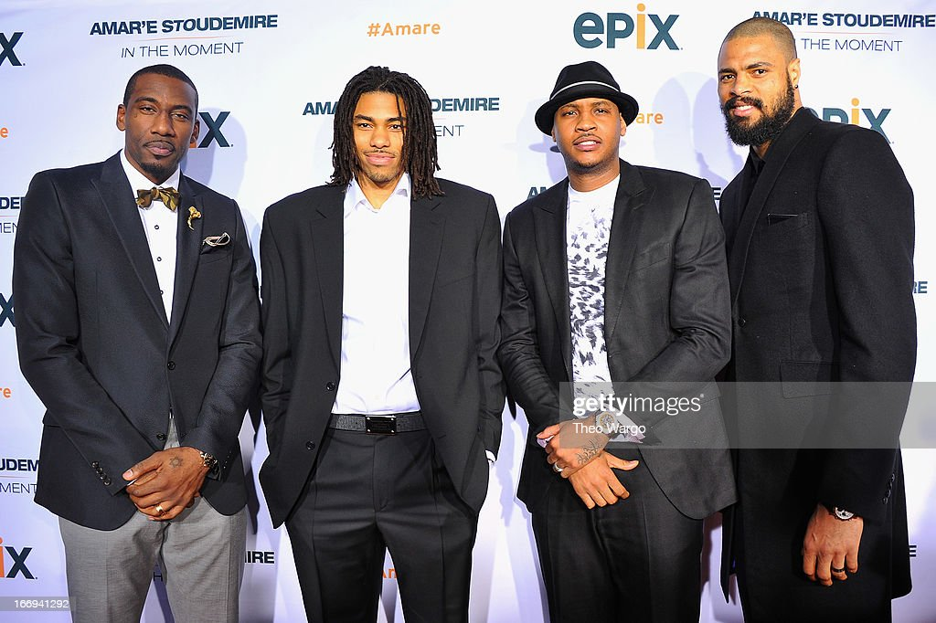 New York Knicks players Amar'e Stoudemire, Chris Copeland, Carmelo Anthony and Tyson Chandle attend EPIX premiere of Amar'e Stoudemire IN THE MOMENT on April 18, 2013 in New York City.
