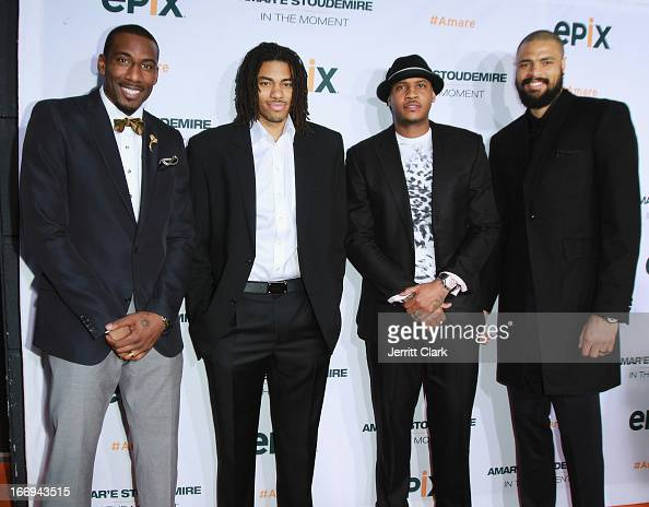 New York Knicks players Amar'e Stoudemire Chris Copeland Carmelo Anthony and Tyson Chandler attend the 'Amar'e Stoudemire In The Moment' New York...