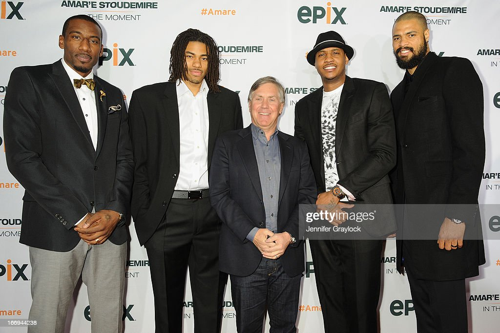 New York Knicks players Amar'e Stoudemire, Chris Copeland, Carmelo Anthony, Tyson Chandler and (center) CEO of EPIX Mark Greenberg attend EPIX premiere of Amar'e Stoudemire IN THE MOMENT on April 18, 2013 in New York City.