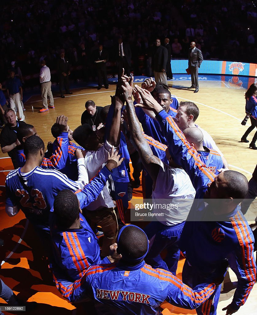 New York Knicks players prepare for their game against the Boston Celtics at Madison Square Garden on January 7, 2013 in New York City.