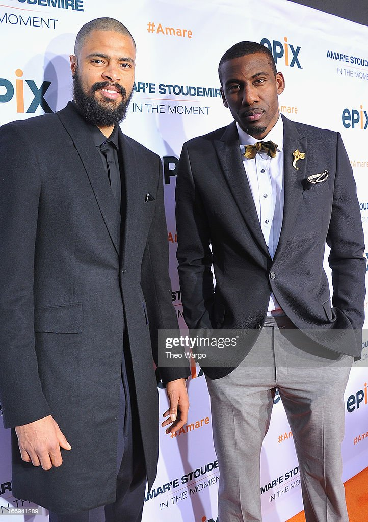 New York Knicks players Tyson Chandler and Amar'e Stoudemire attend EPIX premiere of Amar'e Stoudemire IN THE MOMENT on April 18, 2013 in New York City.