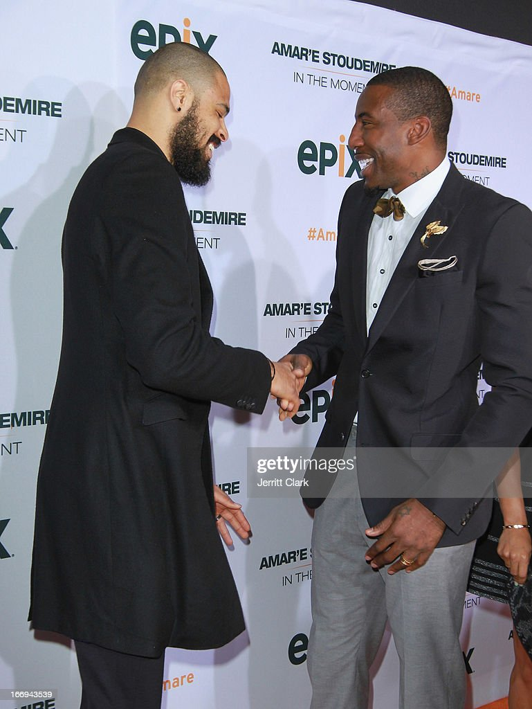 New York Knicks players Tyson Chandler and Amar'e Stoudemire attend the 'Amar'e Stoudemire: In The Moment' New York Premiere at Marquee on April 18, 2013 in New York City.