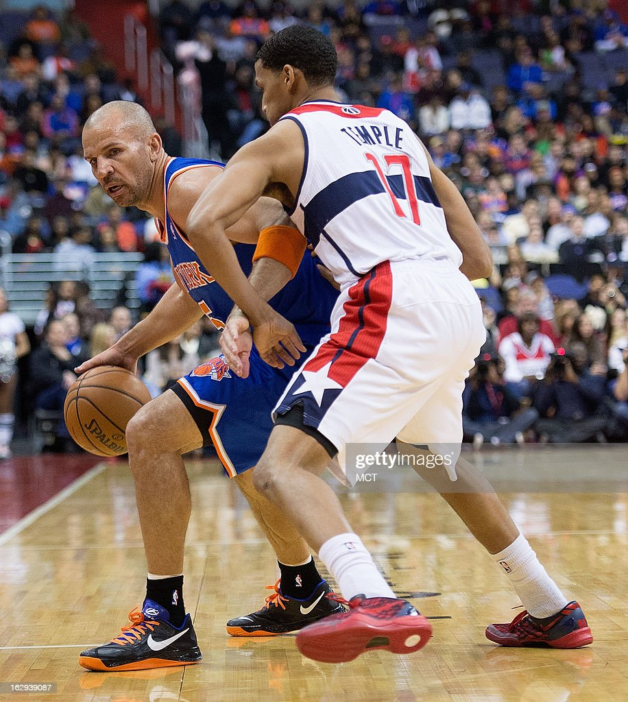 New York Knicks point guard Jason Kidd (5) brings the ball up the court under pressure from Washington Wizards shooting guard Garrett Temple (17) during the first half of their game played at the Verizon Center in Washington, D.C., Friday, March 1, 2013.