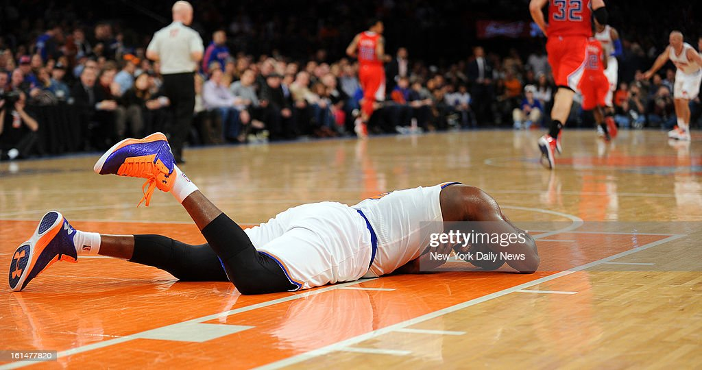 New York Knicks point guard Raymond Felton #2 goes down and appears injured but come back later in the game in the second half when the New York Knicks played the Los Angeles Clippers at Madison Square Garden. New York Knicks lost 102-88.