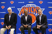 New York Knicks President Phil Jackson General Manager Steve Mills and Head Coach Jeff Hornacek during a press conference introducing the Knicks new...