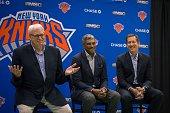 New York Knicks President Phil Jackson General Manager Steven Mills Coach Jeff Hornacek speak with the media at Madison Square Garden training center...