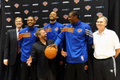 New York Knicks Senior Vice President and Interim General Manager Glen Grunwald Carmelo Anthony Tyson Chandler Amar'e Stoudemire Head Coach Mike...