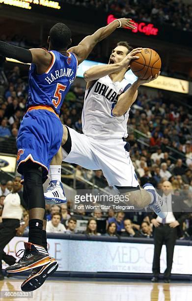 New York Knicks shooting guard Tim Hardaway Jr tries to defend against a shot by Dallas Mavericks point guard Jose Calderon on Sunday Jan 5 in Dallas
