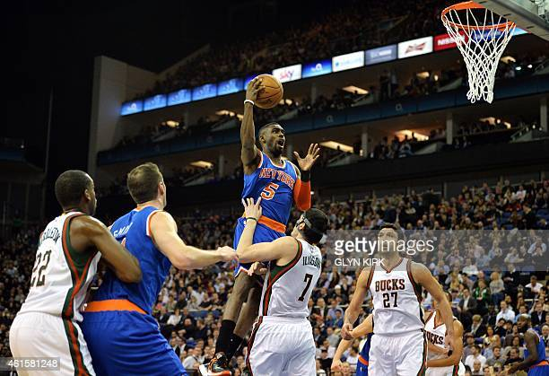 New York Knicks' Tim Hardaway Jr jumps for the basket during the 2015 NBA global game between Milwaukee Bucks and New York Knicks at the O2 Arena in...