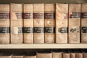 A set of old New York Law Books in a Book Case. Old Law Books on the book shelves