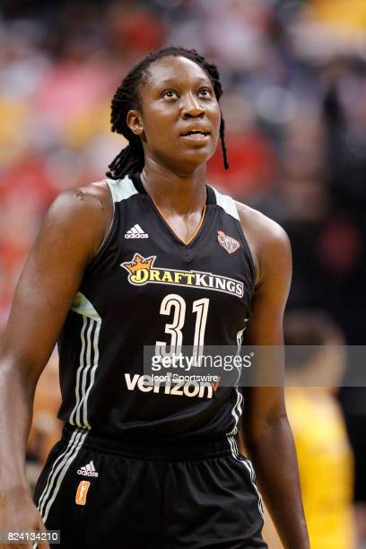 New York Liberty center Tina Charles during the game between the New York Liberty and Indiana Fever July 28 at Bankers Life Fieldhouse in...
