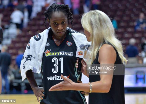 New York Liberty Center Tina Charles during the post game interview by Sarah Kustok as the Connecticut Sun host the New York Liberty on August 18...