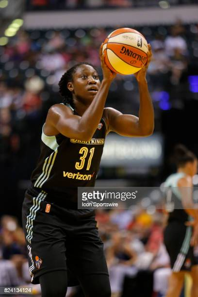 New York Liberty center Tina Charles eyes the free throw attempt during the game between the New York Liberty and Indiana Fever July 28 at Bankers...
