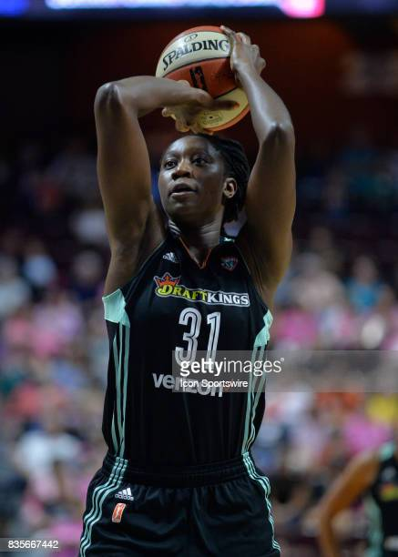 New York Liberty Center Tina Charles shoots at the free throw line during the game as the Connecticut Sun host the New York Liberty on August 18 2017...