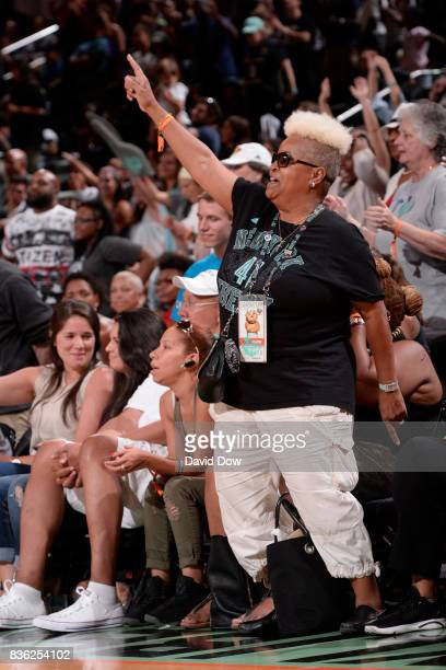 New York Liberty fan celebrates during the game against the Minnesota Lynx during the WNBA game on August 20 2017 at the Madison Square Garden in New...