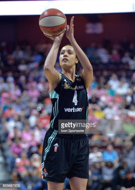 New York Liberty Forward Nayo RaincockEkunwe shoots at the free throw line during the game as the Connecticut Sun host the New York Liberty on August...
