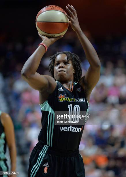 New York Liberty Guard Epiphanny Prince shoots at the free throw line during the game as the Connecticut Sun host the New York Liberty on August 18...