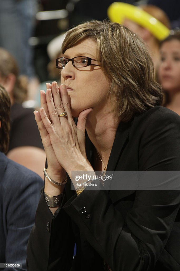 New York Liberty head coach Anne Donovan watches as the Liberty are defeated by the Indiana Fever 7873 at Conseco Fieldhouse on June 5 2010 in...