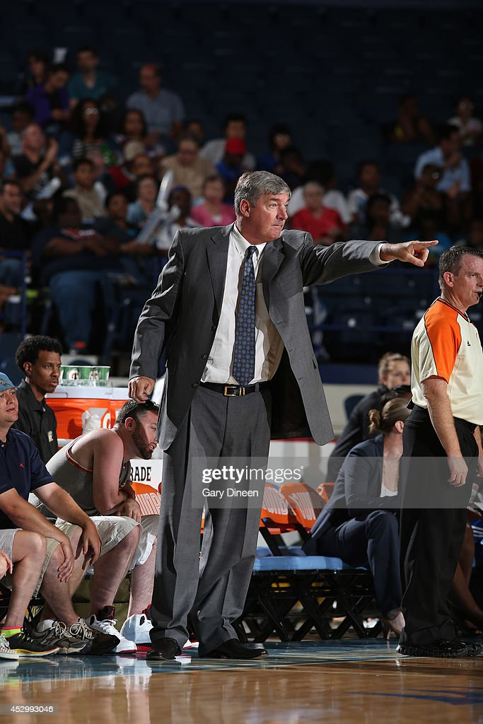 New York Liberty Head Coach Bill Laimbeer directs his team during the game against the Chicago Sky on July 31, 2014 at Allstate Arena in Rosemont, Illinois.