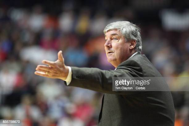 New York Liberty head coach Bill Laimbeer on the sideline during the Connecticut Sun Vs New York Liberty WNBA regular season game at Mohegan Sun...