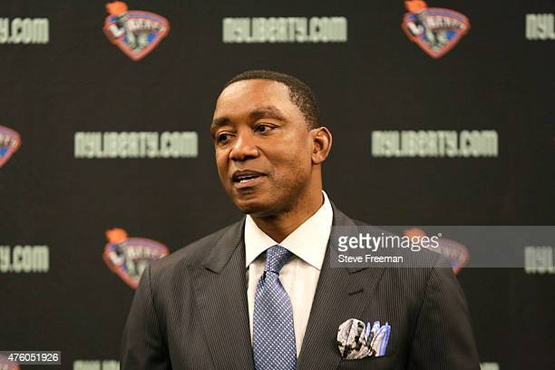 New York Liberty Isiah Thomas speaks to the media before the game against the Atlanta Dream during a WNBA game on June 5 2015 at Madison Square...