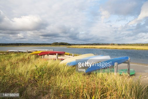USA, New York, Long Island, East Hampton, Boats lying upside down on jetty