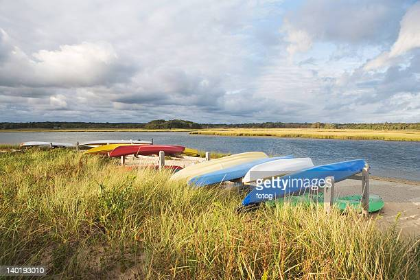 USA, New York, Long Island, East Hampton, Boats lying upside down on jetty