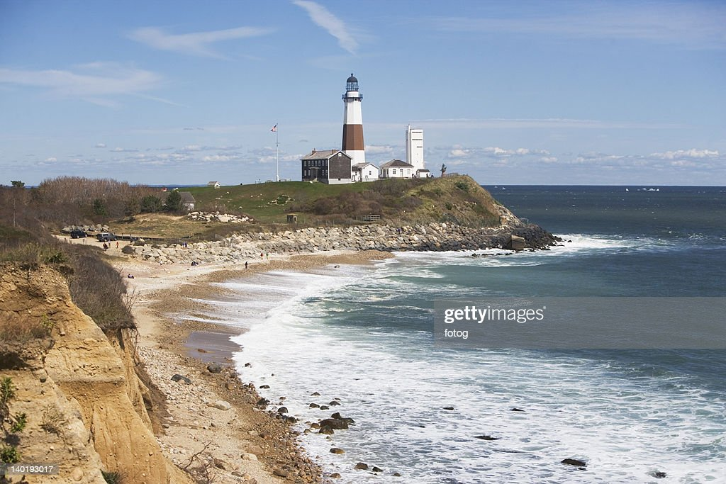 USA, New York, Long Island, Montaurk, Coastline with lighthouse