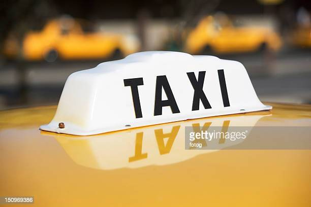 USA, New York, Long Island, New York City, Close up of taxi sign