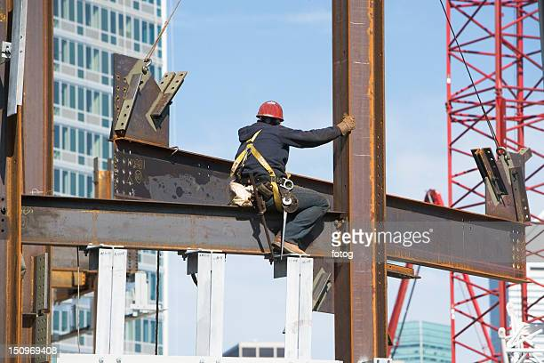 USA, New York, Long Island, New York City, Male worker on construction site