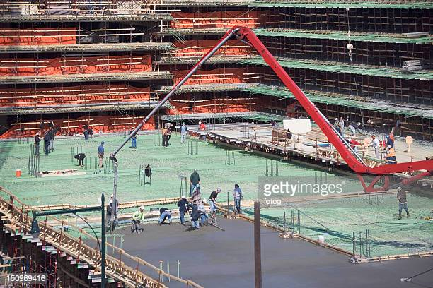 USA, New York, Long Island, New York City, Workers on construction site