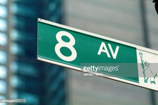 New York, Manhattan, 8th Avenue street sign, close-up