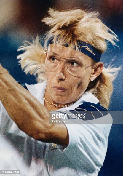 Martina Navratilova returns a shot from her opponent Halle Cioffi during US Open play Navratilova won in two straight sets 62 62