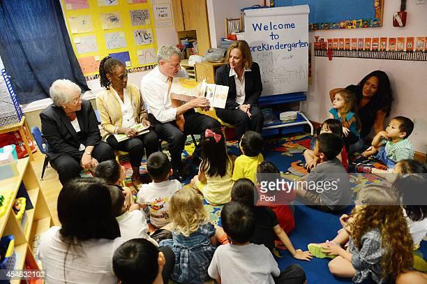 New York Mayor Bill de Blasio along with Schools Chancellor Carmen Farina First Lady Chirlane McCray and Queens Borough President Melinda Katz visits...