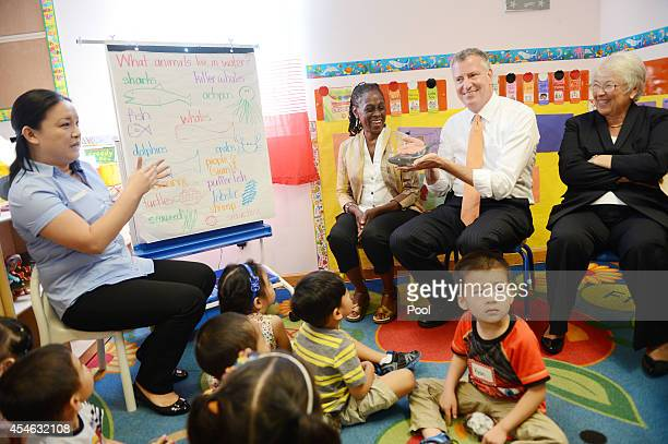 New York Mayor Bill de Blasio along with teacher Margaret Su First Lady Chirlane McCray and Schools Chancellor Carmen Farina visits PreK classes at...