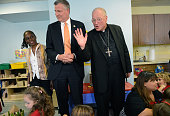New York Mayor Bill de Blasio and First Lady Chirlane McCray visit a PreK class on September 4 2014 at Sacred Heart School in the Staten Island...